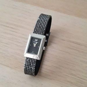Swarovski watch, crystal mesh strap, black